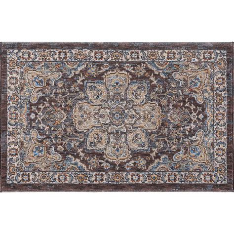 rug 2x3 tayse rugs fairview brown 2 ft x 3 ft accent rug fvw3308 2x3 the home depot