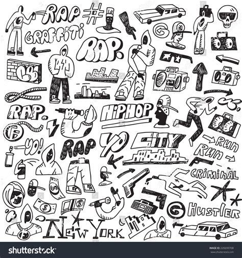 doodle hip hop raphip hop graffiti doodles set stock vector 220699708
