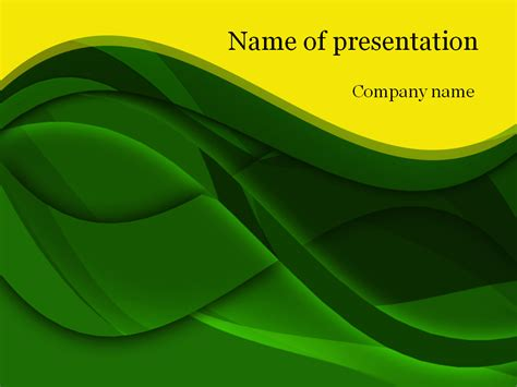 Download Free Green Waves Powerpoint Template For Presentation Green Powerpoint Templates Free