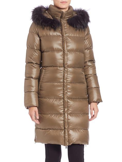 Puffer Coat lyst duvetica deneb fur trimmed puffer coat in