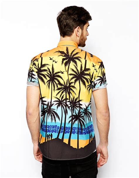 T Shirt S A S Buy Nggifa Name shirt with palm tree print cotton fabric mens dress shirts