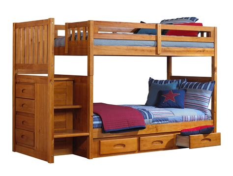 scenic brown wooden bunk beds using white bed linen and