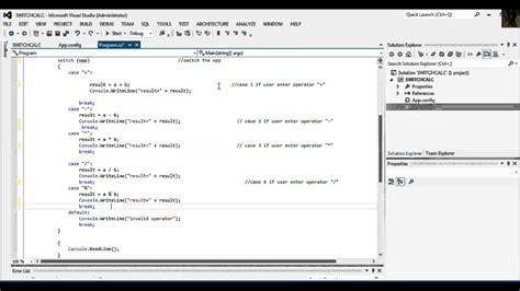 calculator using switch case simple calculator program in c using switch case youtube