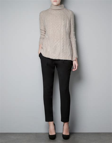 zara knit sweater zara cable knit sweater in lyst