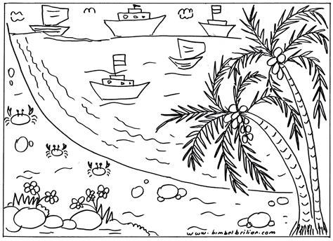 sketsa gambar pemandangan laut harian nusantara