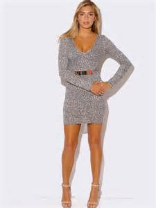 heather gray long sleeve sweater dress modishonline com
