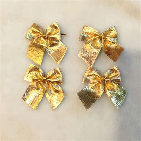 amazing 12pcs pack 5cm gold bows christmas tree ornament