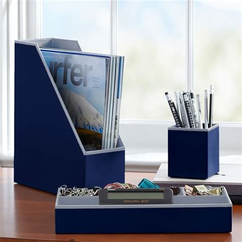 Preppy Desk Accessories Printed Desk Accessories Solid Navy Pbteen