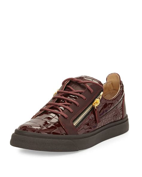 burgundy sneakers mens giuseppe zanotti croc embossed low top sneakers in purple