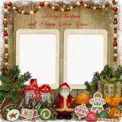 cornici natalizie gratis cartolina d auguri di natale con cornice babbo natale