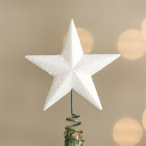 miniature white iridescent star tree toppers christmas