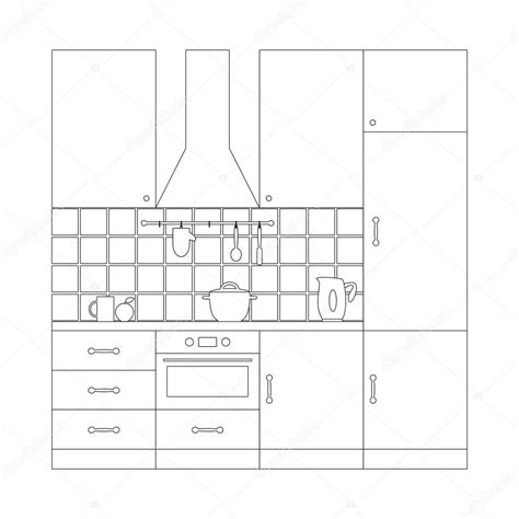 kitchen objects coloring pages kitchen set coloring page template stock vector