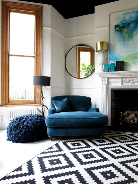 Big Comfy Living Room Chairs Big Blue Comfy Chair And Patterned Rug In Living Room 47 Park Avenue Www