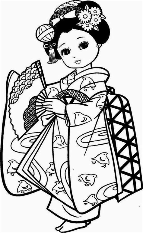 Desenhos de Bonecas Japonesas de Kimono para Colorir