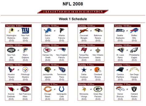 printable nfl league schedule reality football league nfl football pickem pool