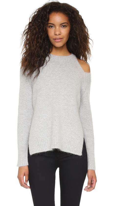 Cold Shoulder Sweater joa cold shoulder sweater in gray grey lyst
