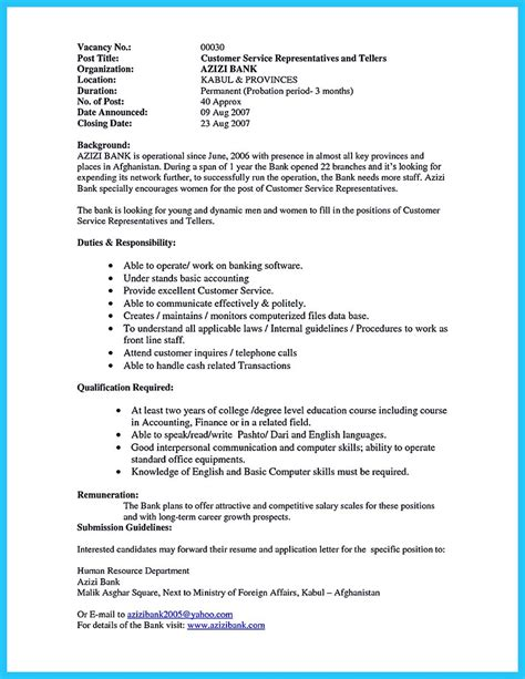 Bank Resume by Learning To Write From A Concise Bank Teller Resume Sle