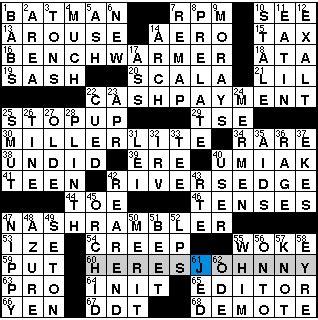 bench warmer crossword monday 12 27 10