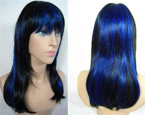 with blue streaks unizeit wigs to hire almosr real
