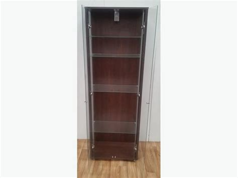 Used Display Cabinets With Glass Doors Brown Walnut Glass Display Cabinet 2 Doors 4 Shelves Glass