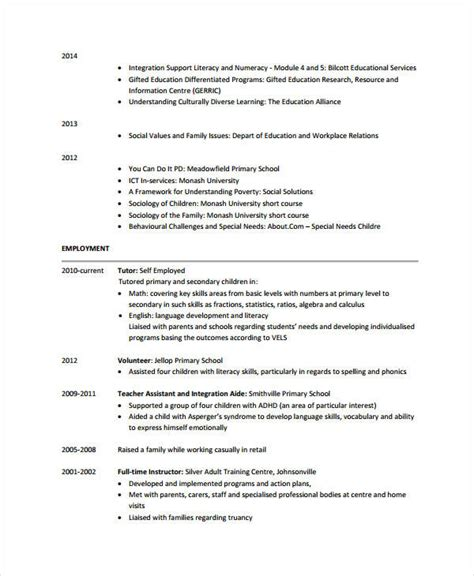 Resume For Teaching Assistant by Resume Sles For Teaching Assistant