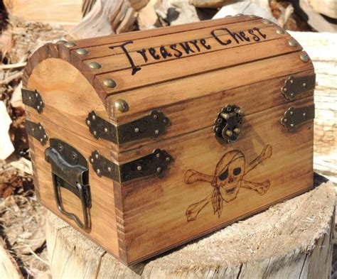 pyrography treasure chest small wood burned  gold