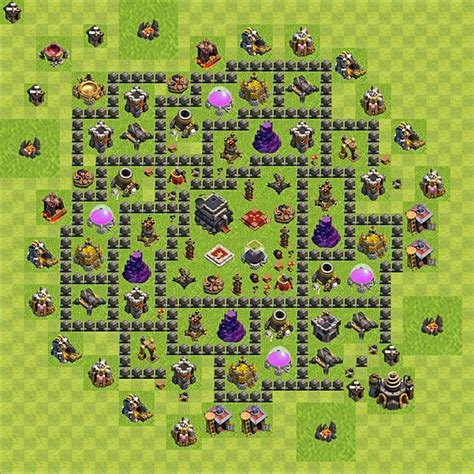 layout coc pemula design trophy base clash of clans town hall 9 terkuat
