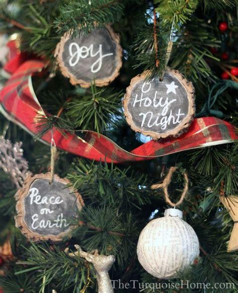 chalkboard wood slice ornaments chalkboards pinterest