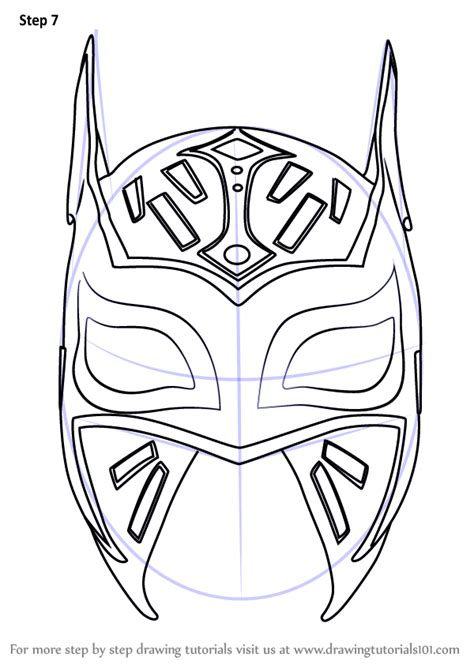 Step By Step How To Draw Sin Cara Mask Cara Coloring Pages