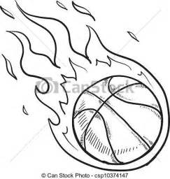 Basketball On Fire Drawings Sketch Coloring Page sketch template