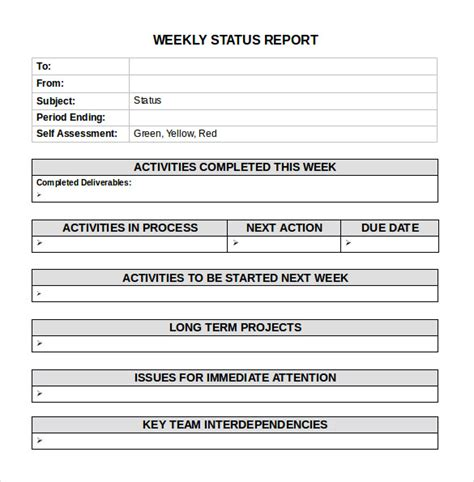 weekly activity report template word bing images