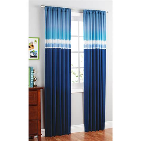 bedroom curtains at walmart your zone printed microfiber window curtains blue tie dye