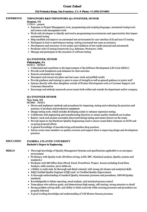 Resume Template Qa Engineer by Sle Qa Engineer Resume Sle Resume For Qa Engineer