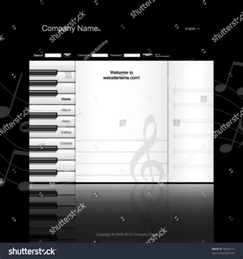Musical Website Template Piano Keys And Music Paper Stock Vector Illustration 78650113 Piano Website Template