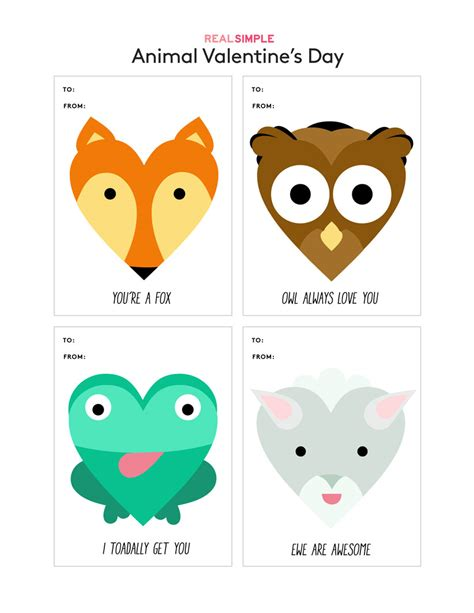 free printable animal valentines day cards printable valentine s day cards real simple