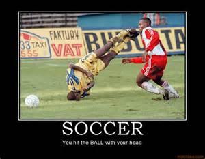 Soccer sports soccer fail ball head hit ground grass demotivational