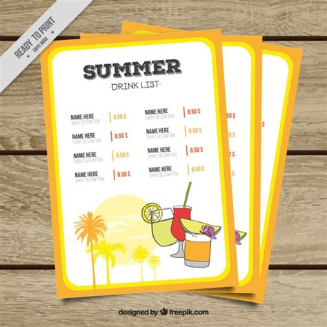 Yellow Summer Drink List Template With Drawings Vector Free Download Drink List Template