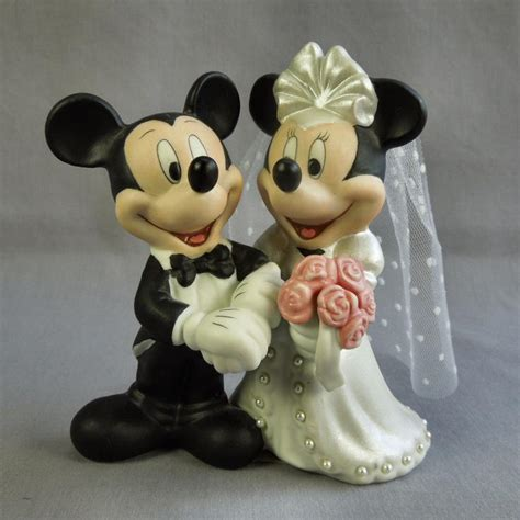 disney mickey minnie mouse cake topper figurine bisque porcelain ebay
