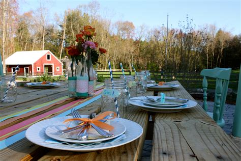 backyard rehearsal dinner table setting 101 rustic
