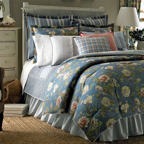 ralph lauren comforter sets chaps by ralph summer porch blue floral comforter 4pc set cottage ebay