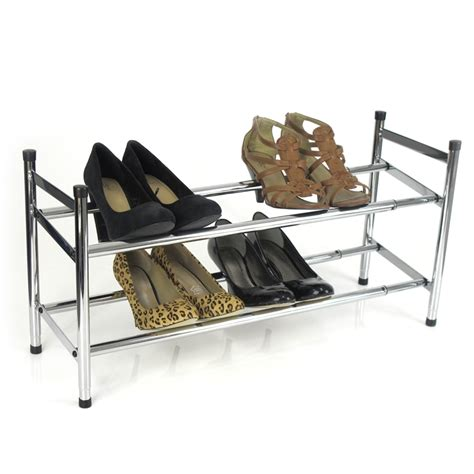 Warehouse Shoe Rack easier storage 2 tier chrome expanding shoe rack