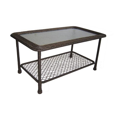Outside Patio Table Shop Garden Treasures Severson 23 25 In W X 41 5 In L Brown Wicker Patio Coffee Table With A