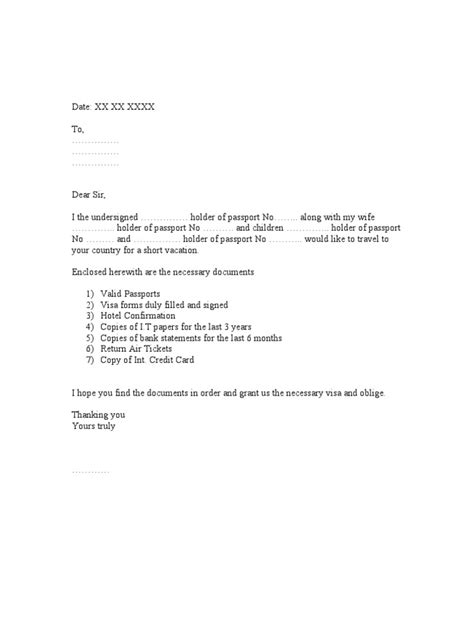 covering letter for visa covering letter for visa application for