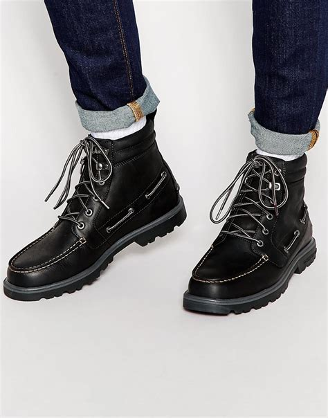lug boots lyst sperry top sider lug sole 6 inch boots in black for