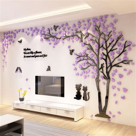 tv background wall design 2017 new tree design tv background wall decorations acrylic wall stickers in wall stickers from