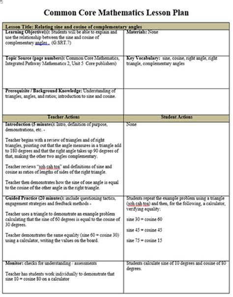 common core math lesson plan template free