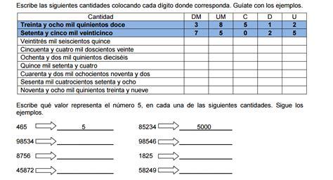 ejercicios de valor posicional para imprimir ejercicios aprendiendo matem 225 ticas en 4 176