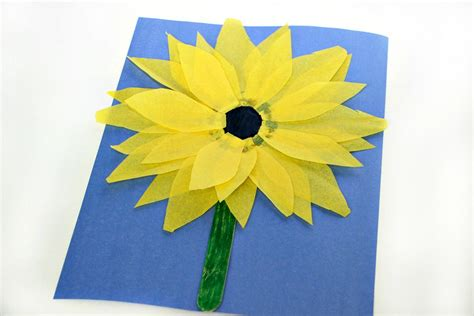 How To Make Sunflowers Out Of Tissue Paper - easy sunflower craft with tissue paper