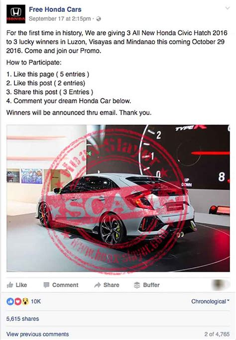 Facebook Giveaway Hoax - honda civic hatch 2016 facebook giveaway is a scam hoax slayer