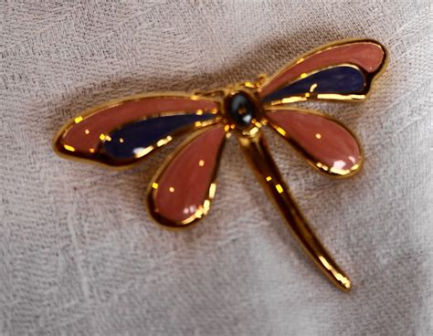 Dragonfly Enamel Pin Pink Purple Gold Tone From
